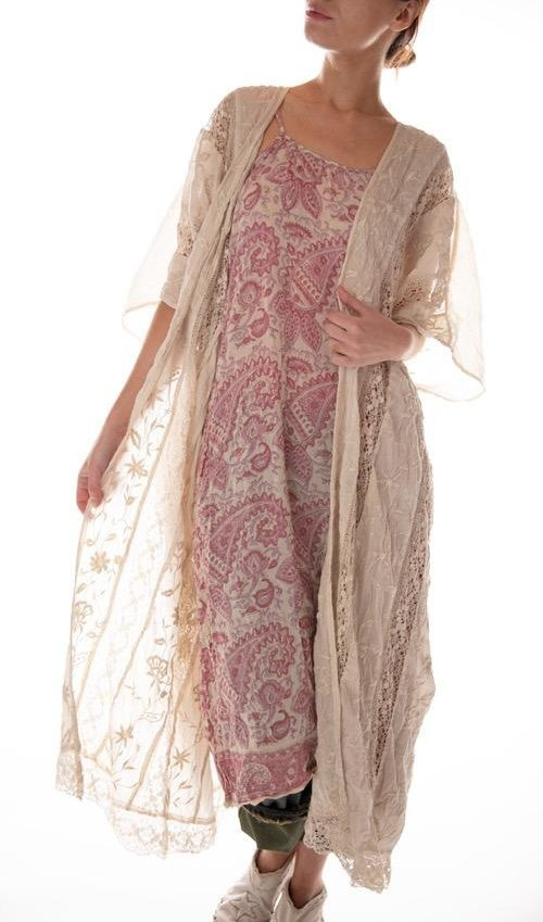 European Cotton Cora Kimono with Floral Embroidery and Lace Insets, Magnolia Pearl