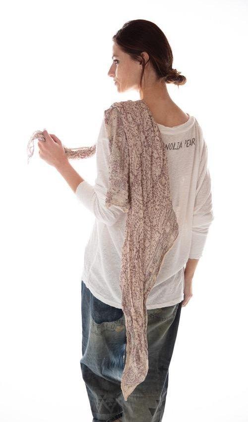 Thin Cotton Hand Block Print Khaelana Scarf, Magnolia Pearl