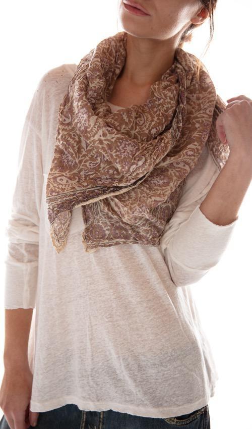 Thin Cotton Hand Block Print Khandis Scarf, Magnolia Pearl