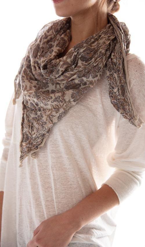 Thin Cotton Hand Block Print Koko Scarf, Magnolia Pearl