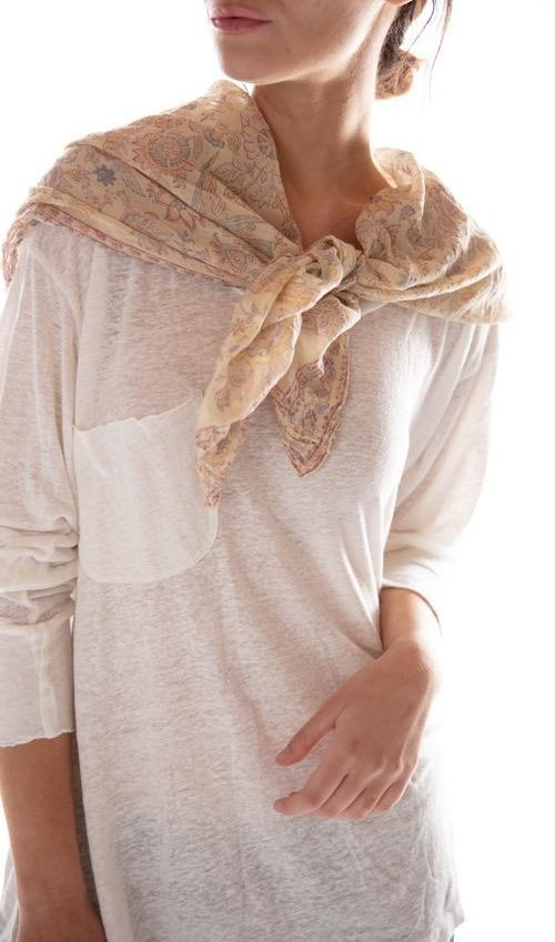 Thin Cotton Hand Block Print Acanthus Scarf, Magnolia Pearl