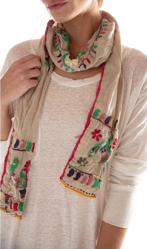 Cotton Silk Hand Embroidered Coyocan Scarf with Distressing and Colored Trims, Magnolia Pearl