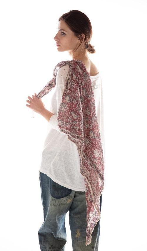 Thin Cotton Hand Block Print Khlo Scarf, Magnolia Pearl