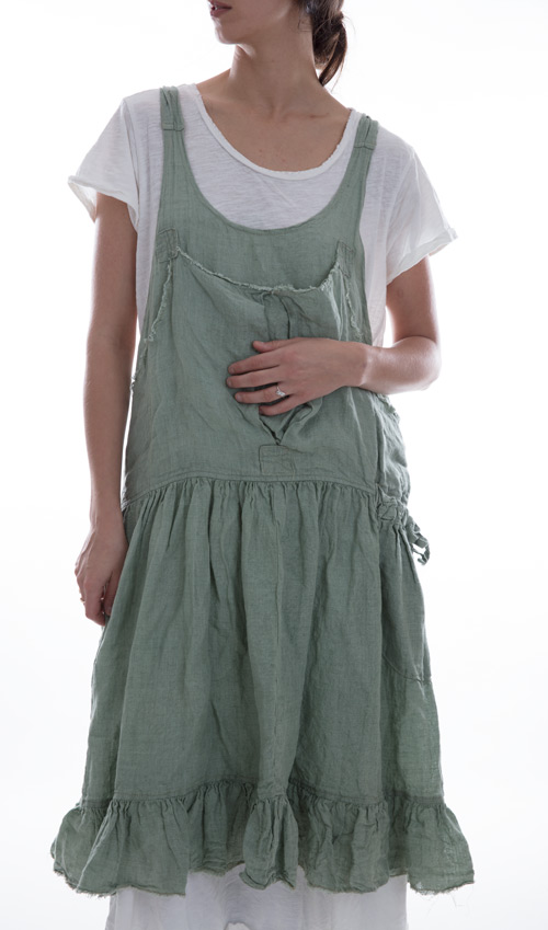 Linen Augustina Apron Dress with Criss Cross Straps and Pockets - Magnolia Pearl
