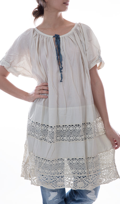 European Cotton Remy Dress with Cotton Lace Inserts, French Blue Silk Ties, and Antiqued Snaps