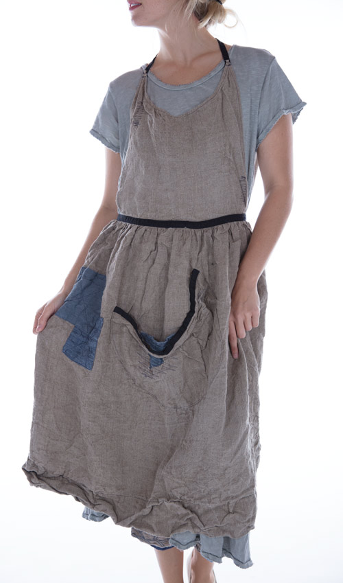 Long Homespun Linen Femke Apron with Patches, Pockets and Adjustable Ties in Flax