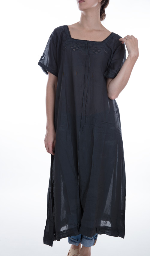 Cotton Silk Gideon Dress with Embroidery, Cotton Lace, Pin Tucks, Hand Stitched Patches and Mending