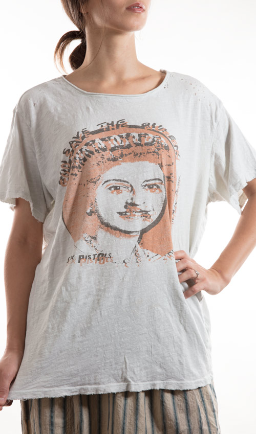 Cotton God Save the Queen T, New Boyfriend Cut, with Hand Distressing, Magnolia Pearl