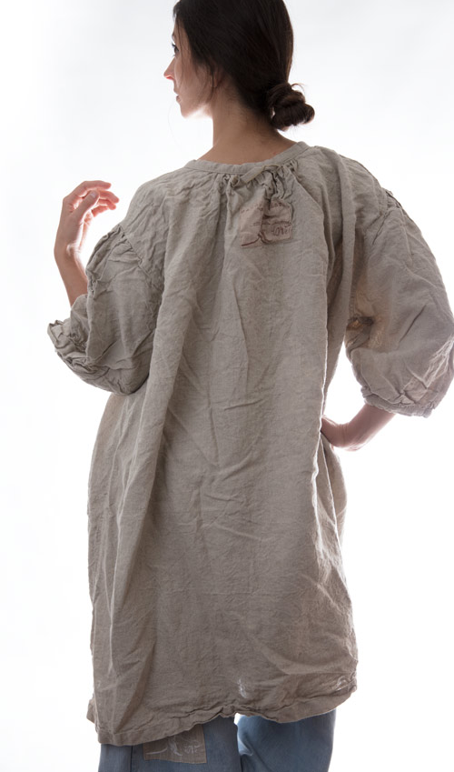 Linen Sofiee Tunic with Placket Across Buttons in Putty