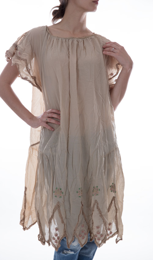 Cotton Silk Tilly Dress with Buttons in Front, Hand Stitched Embroidery, Lace