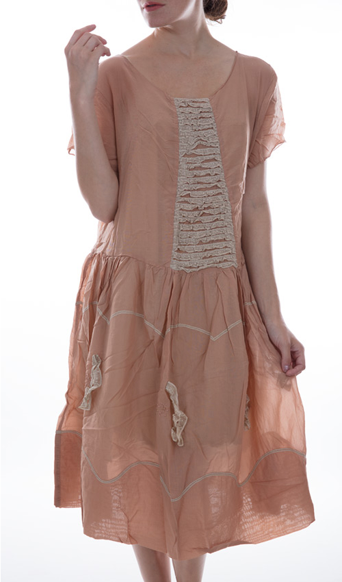 Cotton Silk Loren Dress with Rows of Cotton Lace, Scalloped Cotton Trim, Lace and Silk French Knot Accents