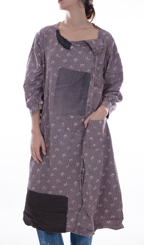 European Cotton Burke Dress with Distressing and Calico Patches in Industry, One Size