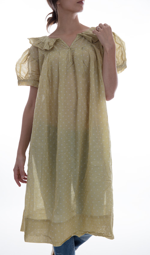 European Cotton Polina Dress with Short Sleeves, Snap in Front and Ruffle Collar - Magnolia Pearl