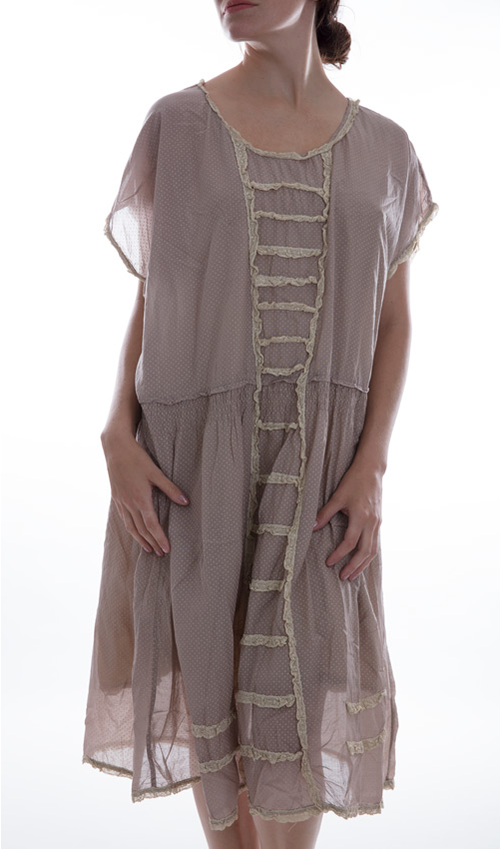Cotton Silk Maja Dress with Cotton Lace Trim and Details, Shirring Waist, and Cap Sleeves
