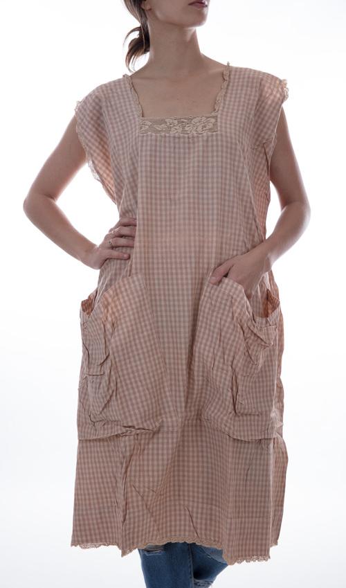 European Cotton Ada-Jade Picnic Dress with Lace Neckline, Cap Sleeves, Big Front Pockets - Magnolia Pearl