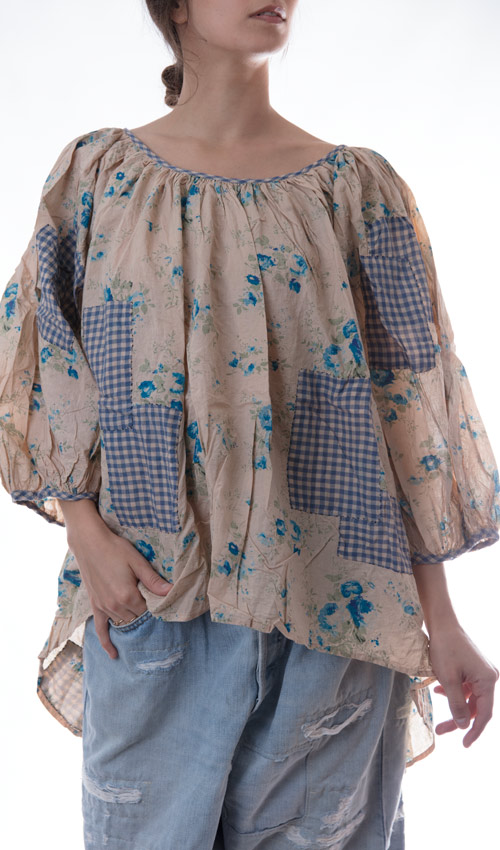 European Cotton E. Dickinson Poet's Top with Scoop Neck, Three Quarter Sleeve, Hand Stitched Floral Patches and Mending - Magnolia Pearl