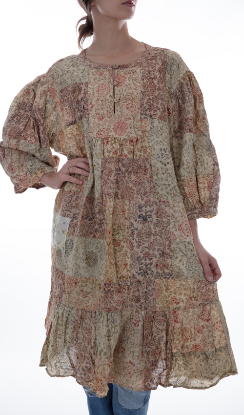 European Cotton Dharma Hand Block Print and Handwoven Cotton Patchwork Dress - Magnolia Pearl