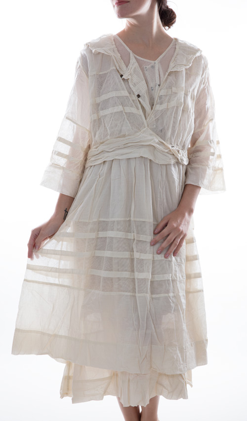 Thin European Cotton and Fine French Tulle Braesha Dress with Cotton Lace and Hand Sewn Antiqued Snaps and Hooks