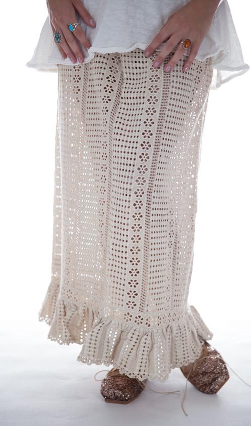 Cotton Crochet Cosi Skirt, Handstitched Poplin Waist with Drawstrings