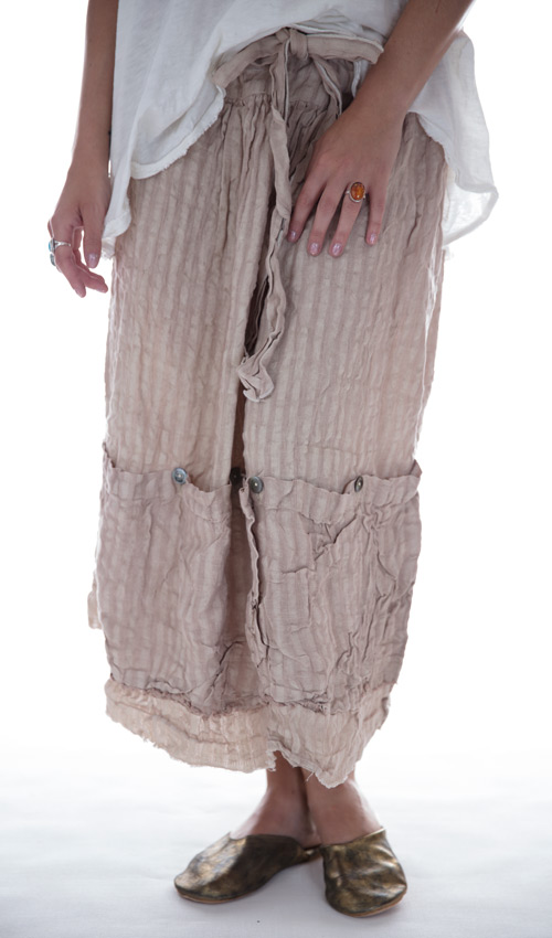Linen Stripe Vergie Skirt with Tie in Coco Rose