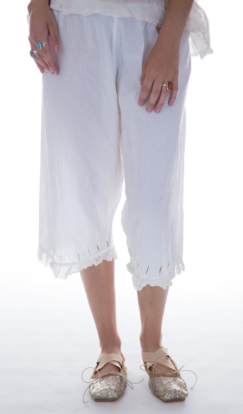 European Cotton Fleur Bloomers with Side Buttons, Backtie, and Lace Ruffle - Magnolia Pearl