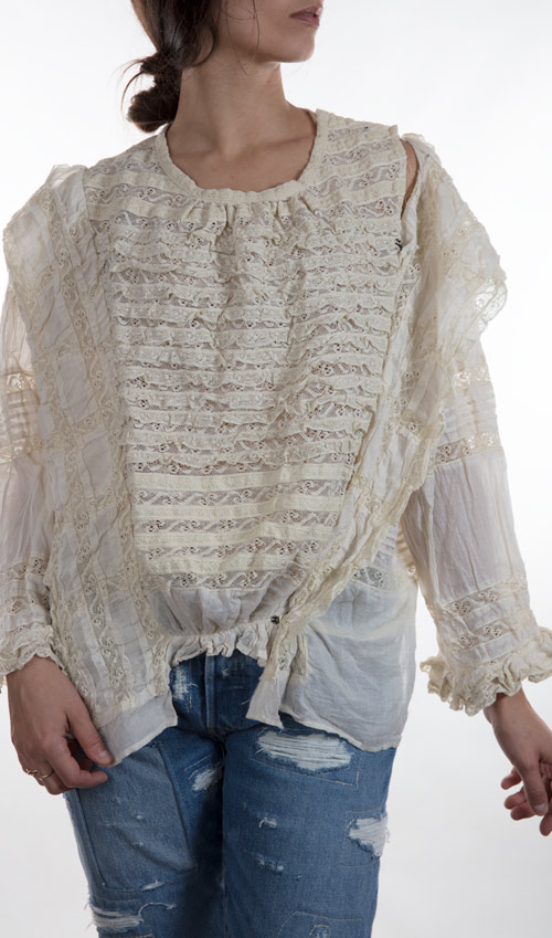 European Cotton Colette Blouse with Three Quarter Sleeves, Antique Hook and Eyes, and Eyelet Lace Ruffles - Magnolia Pearl