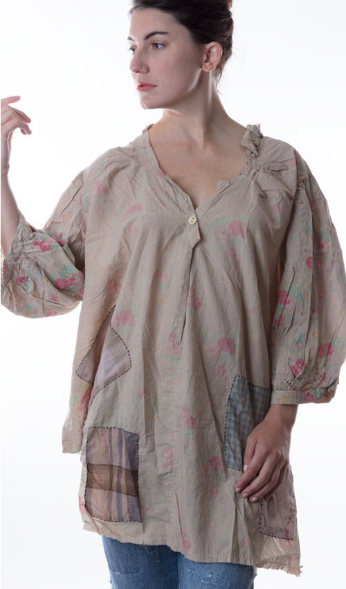 European Cotton Annika Top with  Patches, Decorative Stitching and Three Quarters Sleeves - Magnolia Pearl