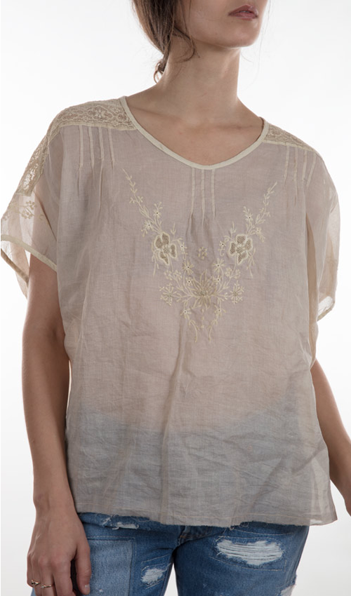 Cotton Organza Agnes Layering Blouse with Lace and Embroidery - Magnolia Pearl