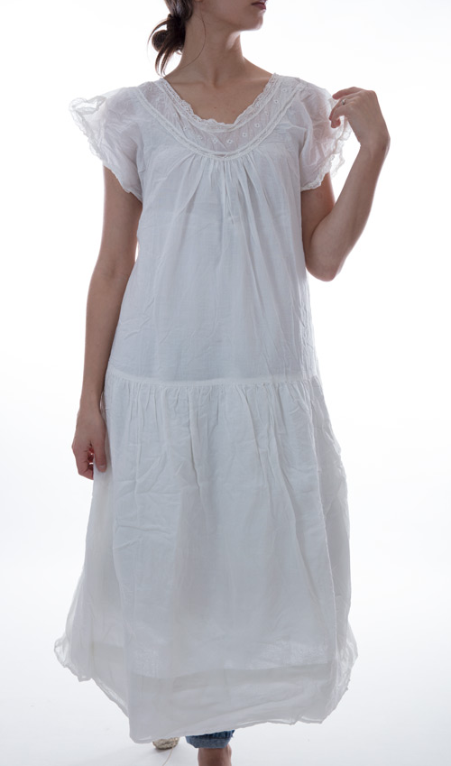 Thin European Cotton Calderon Dress with Lace Embroidery, and Cotton Lining at the Skirt