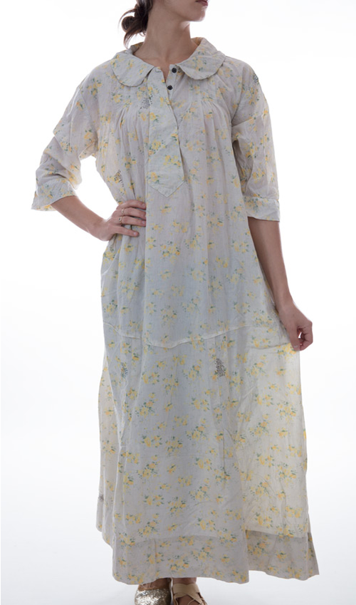 European Cotton Anya Dress with Collar, Pleats, Snap Button Front, Handstitched Mending and Three Quarter Sleeves - Magnolia Pearl