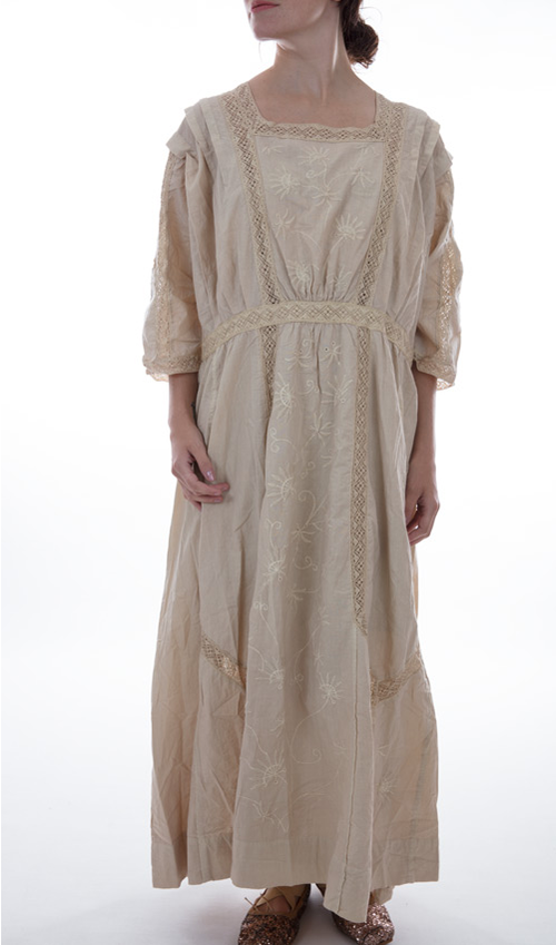 European Cotton Korben Dress with Cotton Lace, Pleats, Embroidery, Buttons and Hooks in Back