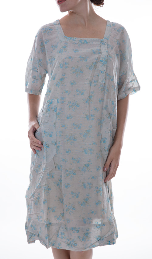 European Cotton Isabella Dress with Sleeves, Snaps in Front and Handstitched Patches and Mending - Magnolia Pearl
