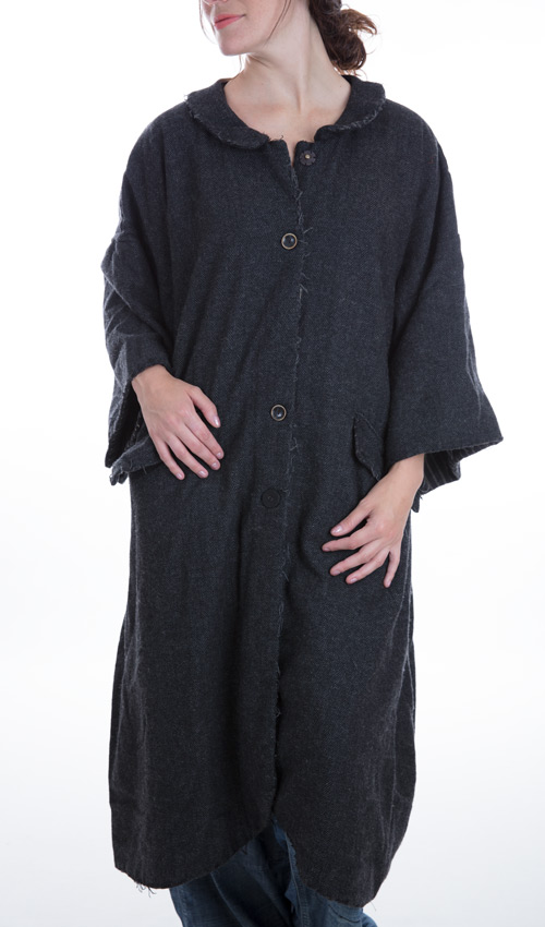 Herrington Wool Ailsa Coat with Cotton Pinstripe Lining and Front Pockets