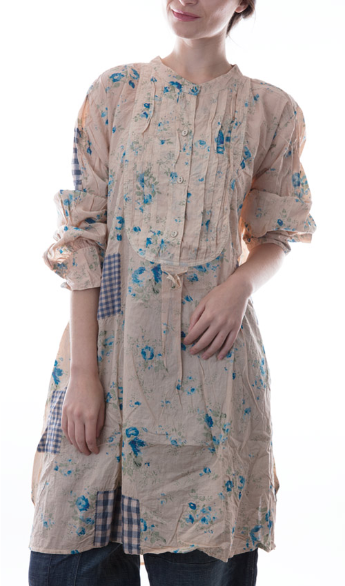 European Cotton Kerisa Top with Long Sleeves, Pleated Button Front, Patches and Hand Stitching - Magnolia Pearl