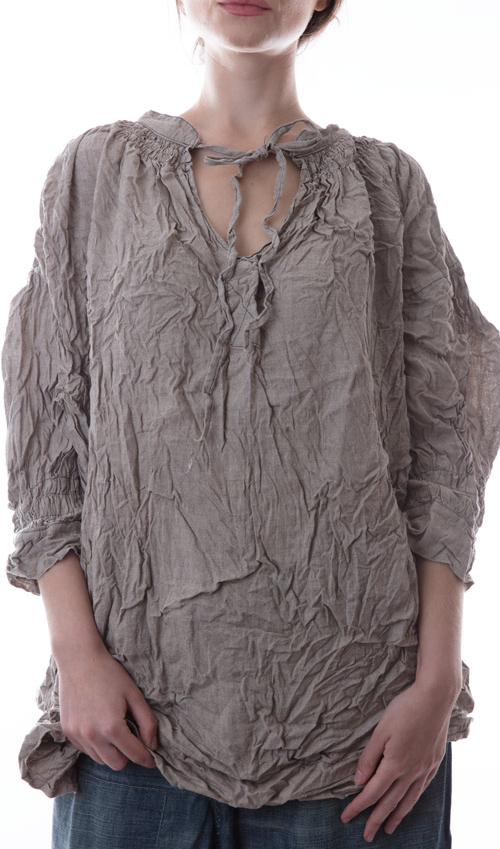 Linen Eliza Top with Old European Shearring Neckline with Tie and three-quarter Sleeves in Stalk - Magnolia Pearl