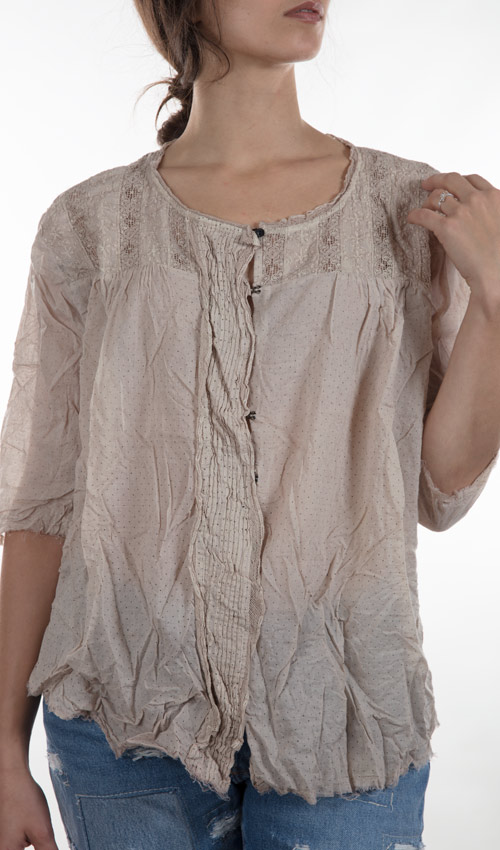 Thin European Cotton Reigna Blouse with Antiqued Hook and Eyes, Detailed Lace Front,  Pintucks and Tie in Back