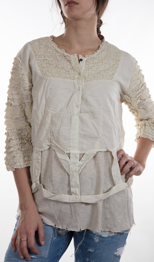 European Cotton Crinoline Blouse with Cotton Binding, Lace Ruffled Sleeves, and Antiqued Snaps