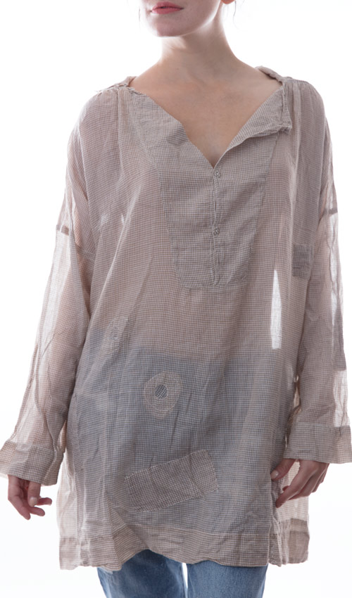 Thin European Cotton Analina Long Sleeve Top With Hand Patches and Mending - Magnolia Pearl
