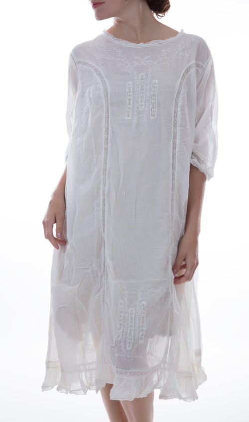 European Cotton Marlowe Dress with Pin Tucks, Embroidery, and Cotton Lace Insets