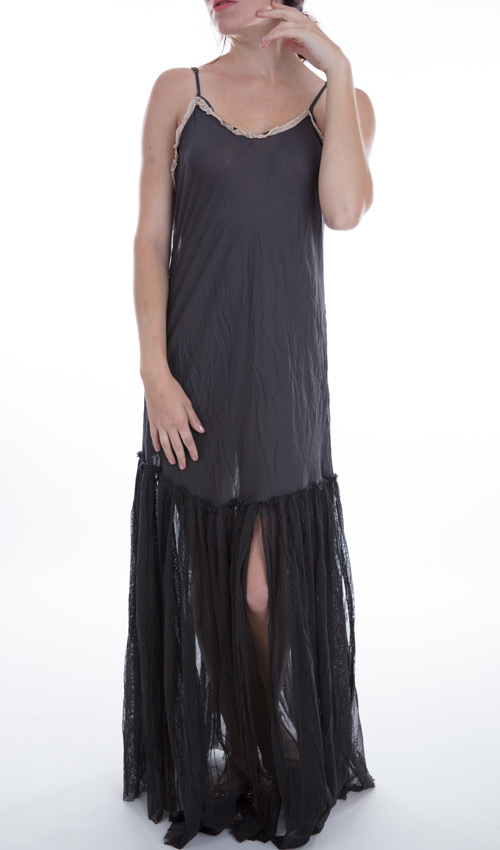 European Cotton and Tulle Anya Slip with Adjustable Straps, Cotton Lace, Magnolia Pearl