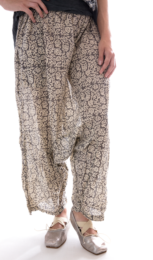 Cotton Garcon Trousers with Elastic Waist, Pockets and a Dropped Rise