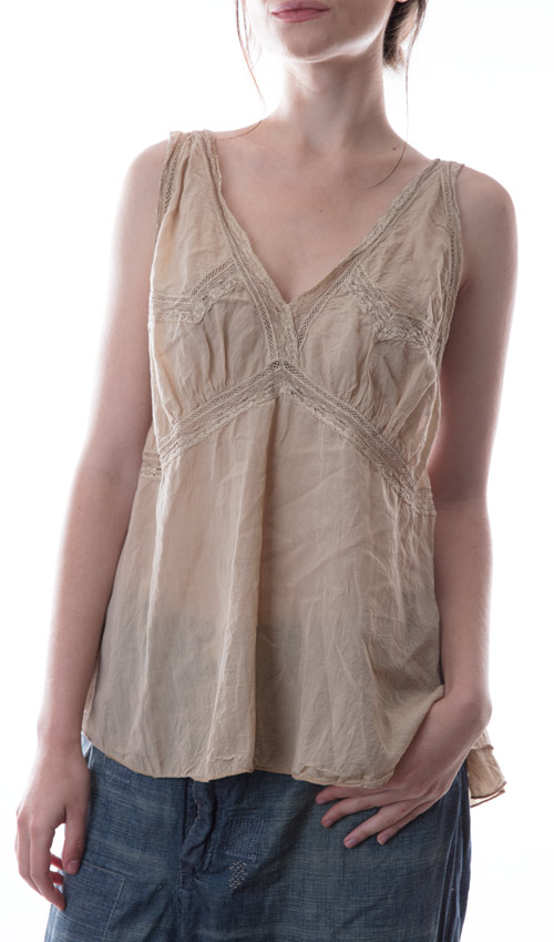 Cotton Silk Lille Lounging Camisole with Lace Insets - Magnolia Pearl