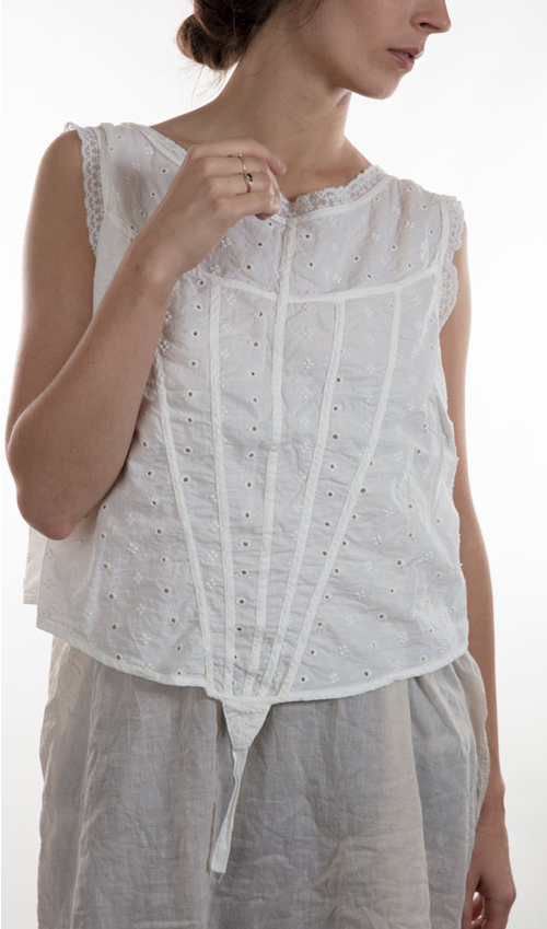 Cotton Eyelet Dasha Corset Top with V-Binding, Cotton Lace Trim and Twill Ties in Back