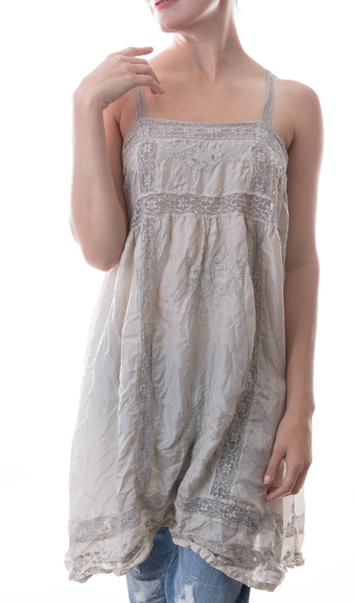 Silk Embroidered Poesy Layering Slip with Cotton Laces