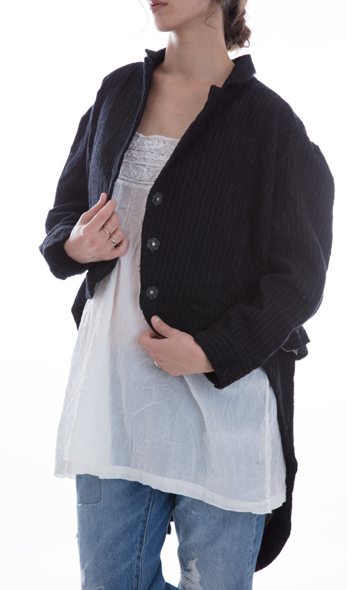 Pinstriped Wool Sidra Tuxedo Coat with Quilted Cotton Lining, Small Front Pockets and Big Fabric Covered Snaps