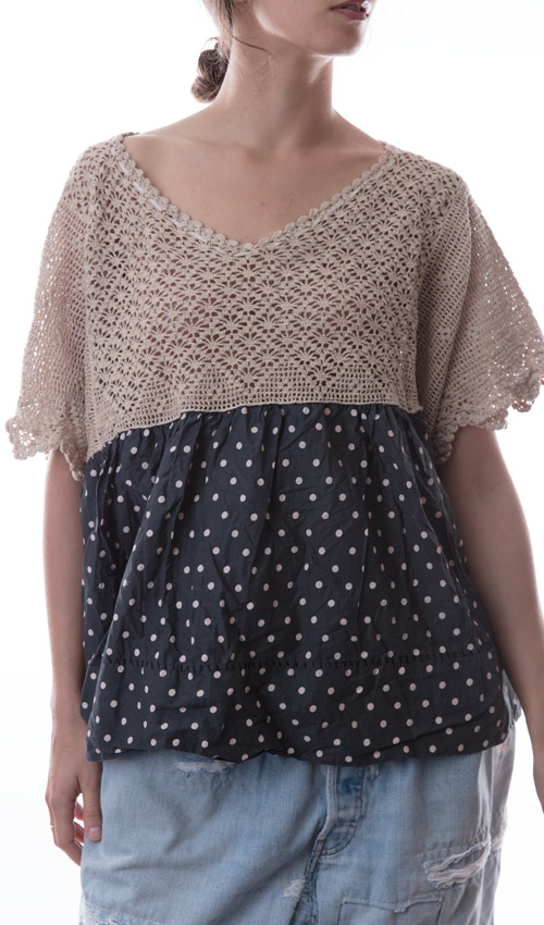 European Cotton Olivier Blouse with Hand Crocheted Yoke, Hand Stitched Hem, and Crocheted Buttons in Back
