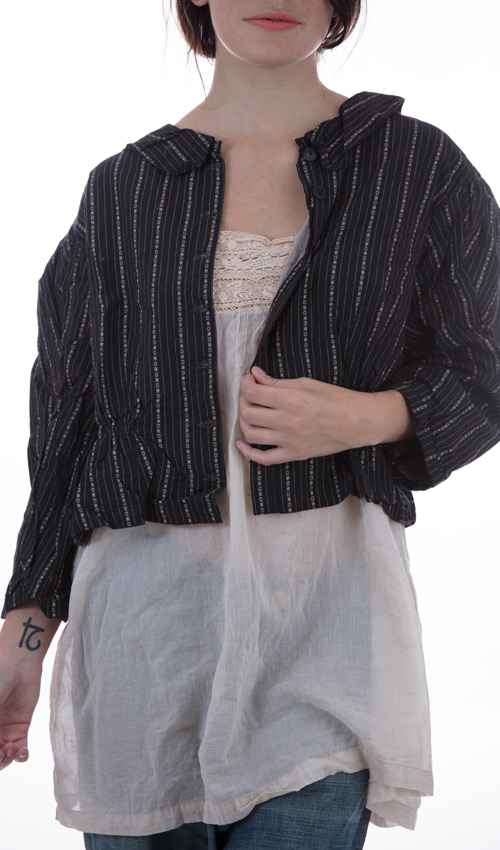 European Cotton Union Jacket with Button Down Front, Long Sleeves, Collar, and Gathered Waist