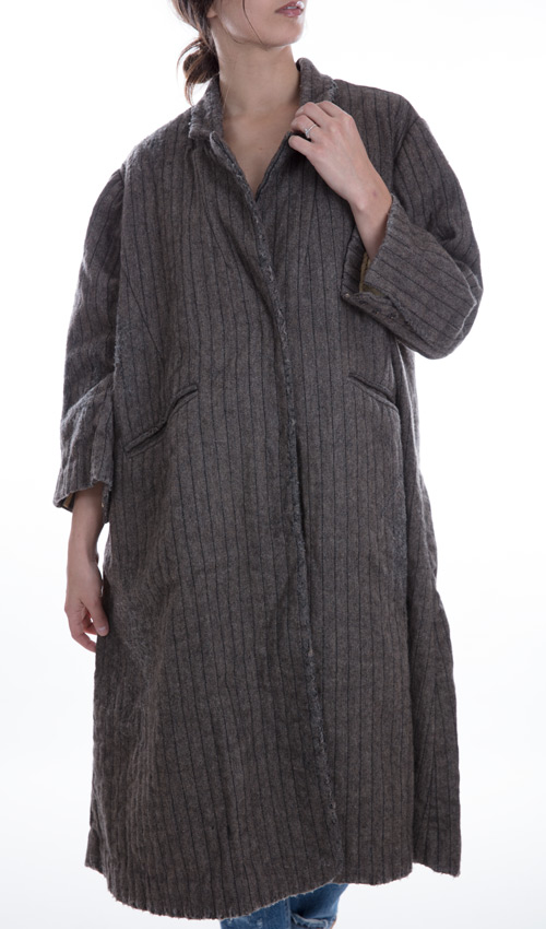 Pinstriped Wool Cara Coat with Quilted Cotton Lining, Front Pockets and Big Fabric Covered Snaps