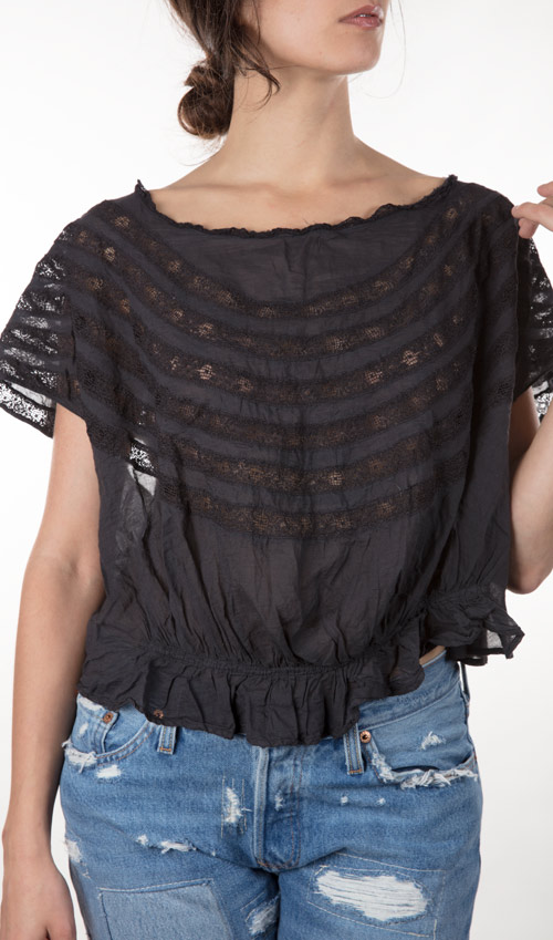 European Cotton Sloan Blouse with  Cap Sleeves, Lace Insets, Gathered Waist and Buttons in Back