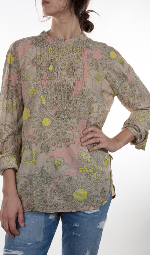 European Cotton Daydreamer Top with Long Sleeves, Gathered Neckline, Button Cuffed. - Magnolia Pearl
